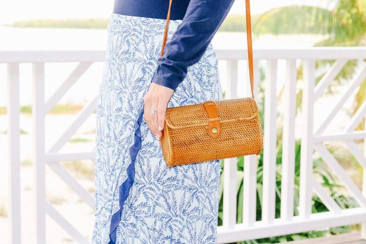 Lilly Pulitzer outfit, rattan purse